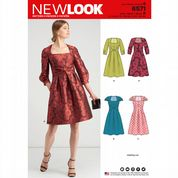 6571 New Look Pattern: Misses' Dress with Sleeve Variations
